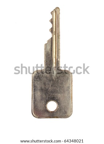 photograph of a key isolated on white background - stock photo