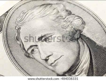 photographed close-up American dollars, small depth of field, banknote worth ten dollar