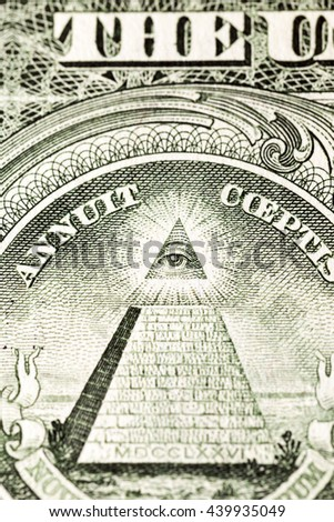 photographed close-up American dollars, small depth of field, the cost of one dollar banknote, - stock photo
