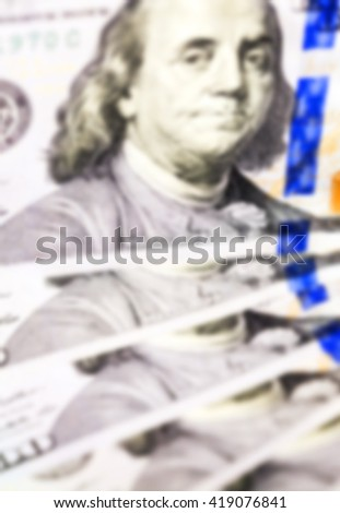 photographed close-up New American dollars, piled together, Defocus - stock photo