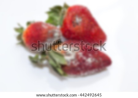 photographed red ripe strawberries, covered with white mold, spoiled strawberries closeup, defocus - stock photo