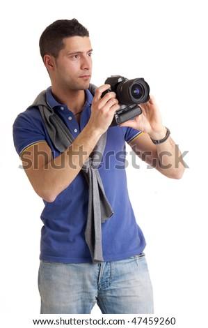 photographer looking - stock photo