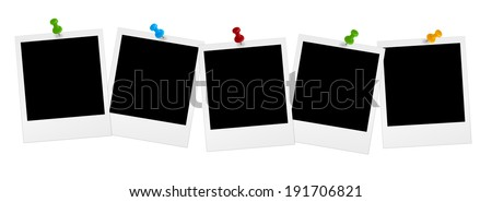 5 Photos in series with colored pins - stock photo
