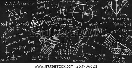 Physical and mathematical sciences for the engineer drawing on the chalkboard - stock photo