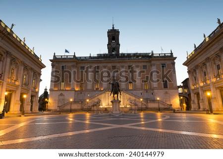 Piazza del Campidoglio on Capitoline Hill ,Rome,Italy - stock photo