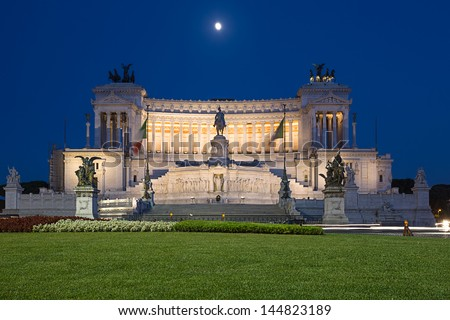 piazza Venezia, National Monument of Victor Emmanuel II at night, Rome, Italy. - stock photo