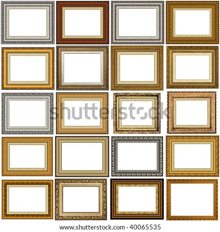 20 picture frames with a decorative pattern - stock photo