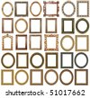 30 picture gold frames with a decorative pattern - stock photo