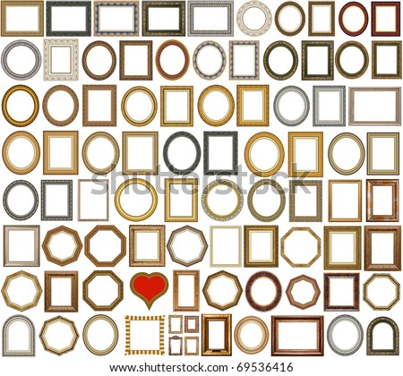 83 picture gold frames with a decorative pattern - stock photo