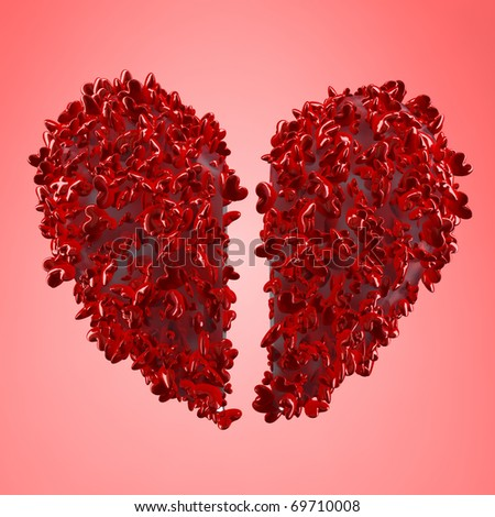 picture of a heart broken into little pieces - love concept - stock photo