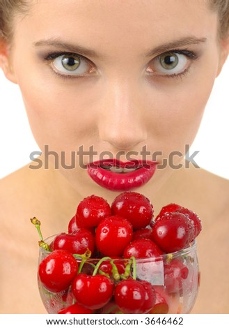 picture of cherry and woman - stock photo