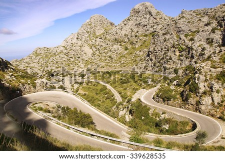 Picturesque landscape with mountain road to Sa Calobra.   Mallorca