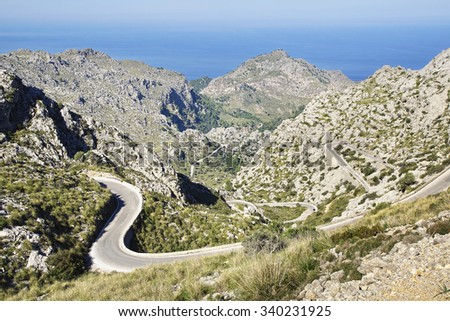 Picturesque landscape with mountain road to Sa Calobra.   Mallorca                              - stock photo