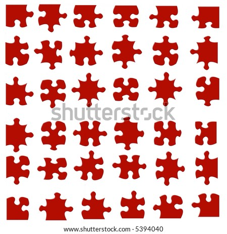 36 pieces of a  jigsaw puzzle. All pieces fit together. Displayed separately so each piece can be used individually. - stock photo