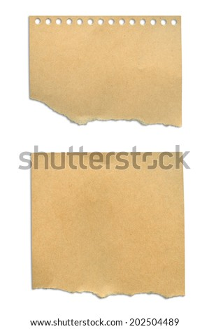 pieces of note paper on white background. With clipping path.
