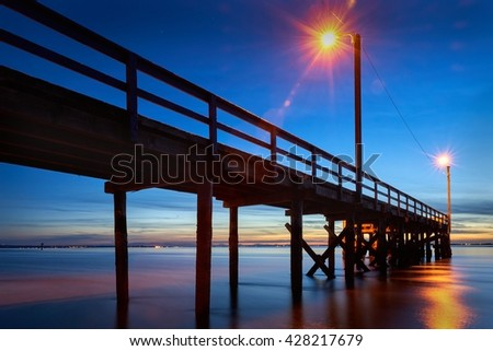 Pier Twilight. Crescent Beach Pier near White Rock at twilight. Surrey, BC, Canada.                       - stock photo