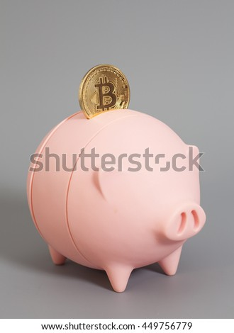 Piggy bank with One Golden Bitcoin coin (new virtual money ) on a gray background