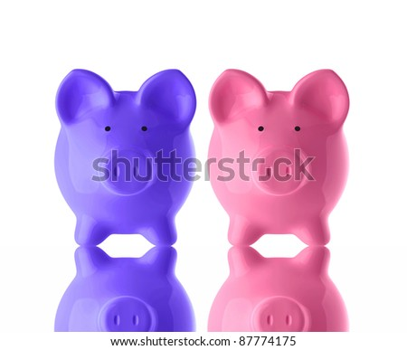 2 piggy banks isolated on white with reflection - stock photo