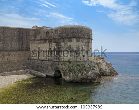 Pile Bay Old Town by the Adriatic Sea in Dubrovnik, Croatia - stock photo