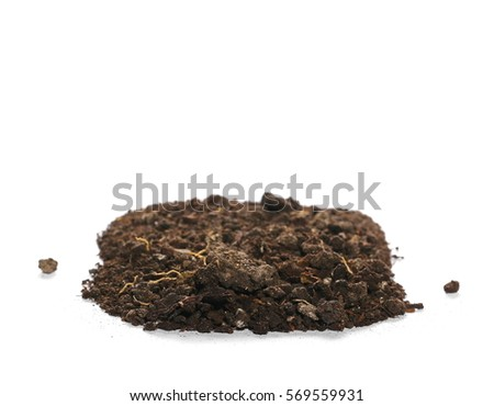 pile dirt isolated on white background, with clipping path