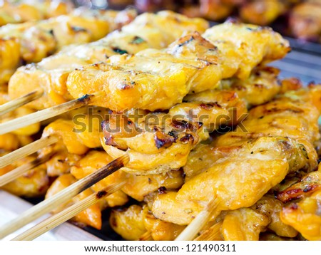 Pile of barbecued chicken - stock photo