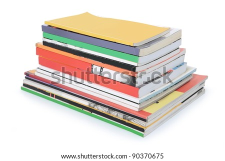 pile of books and magazines with blank cover isolated on white background - stock photo