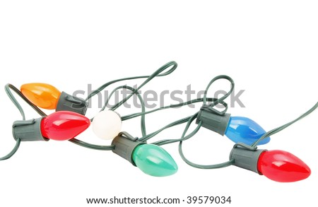 pile of christmas lights isolated - stock photo