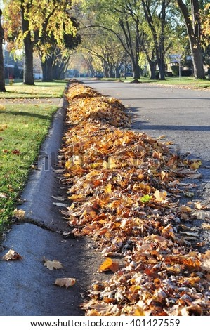 Pile of raked  leaves on a street ready to collect. - stock photo