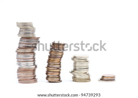 4 piles of coins on the white backgrounds - stock photo