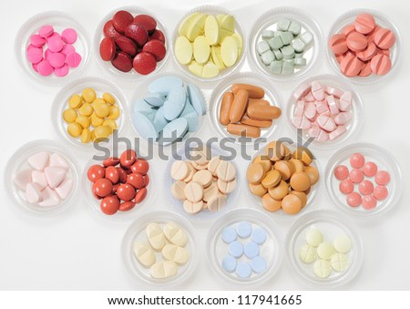 Pills, drugs and medicines variety. Diversity of shapes and colors to protect health. - stock photo