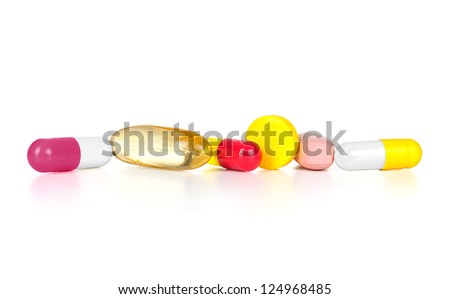 pills over white background - stock photo