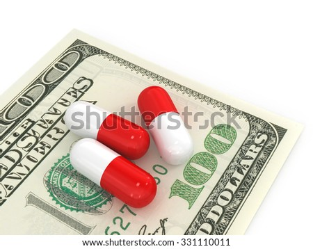 3 pills which are 100 dollar bills on a white background.