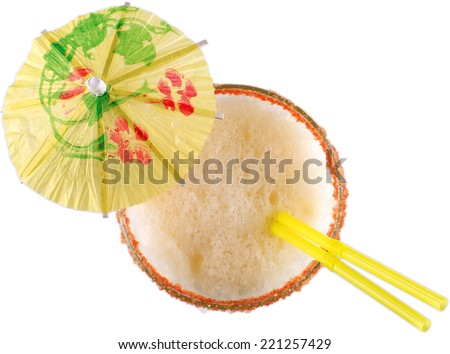"""Pina Colada"" Cocktail, isolated, top view - stock photo"