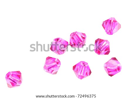 Pink crystal beads isolated - stock photo