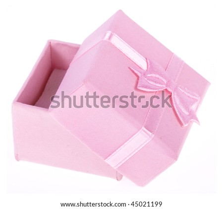 pink little box with pink ribbon - stock photo