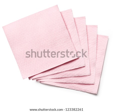 Pink Paper Napkin on white background