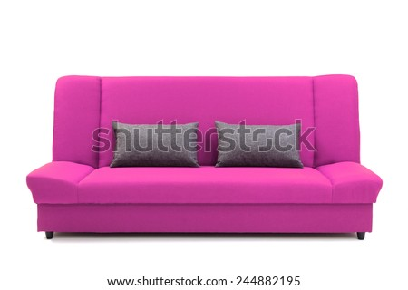 Pink sofa with pillows, isolated on white. 3d Illustration of a Modern Sofa. - stock photo
