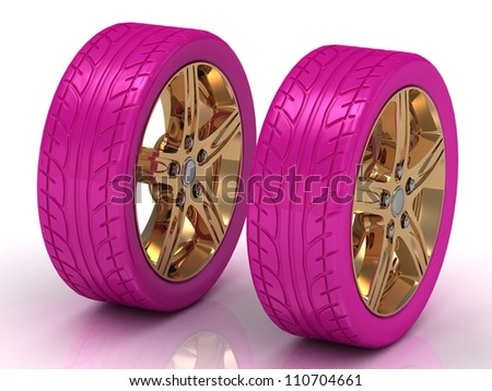 2 pink wheels with a gold disc on a white background - stock photo