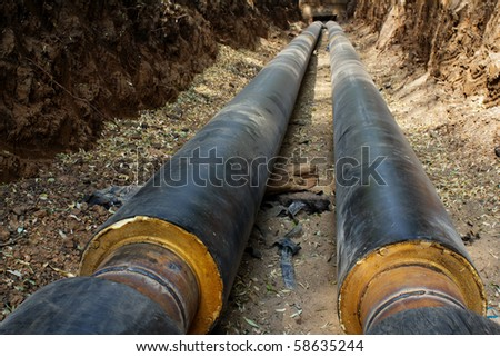 Pipeline  trench  ground - stock photo