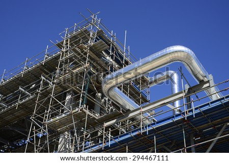 piping construction ,During pipeline construction products The scaffolding for construction. - stock photo