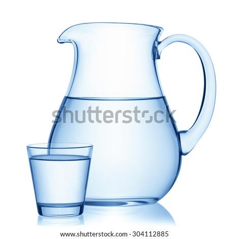 Pitcher and a glass of water, isolated on the white background, clipping path included. - stock photo