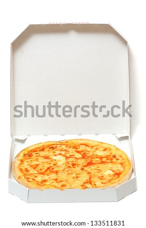 pizza in open box