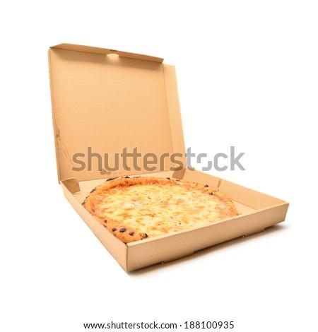 pizza in the cardboard box  - stock photo