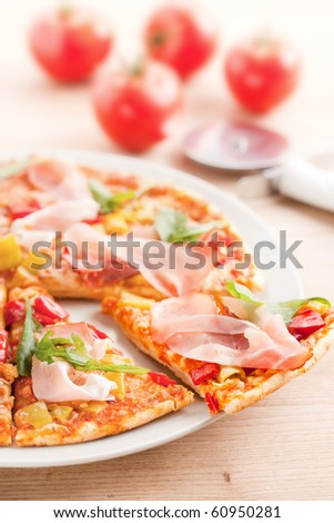 pizza on plate - stock photo