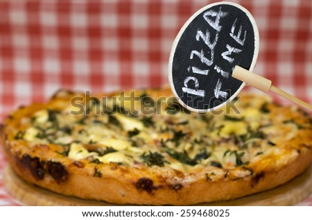 """Pizza Time"" concept. Delicious homemade meat pie - stock photo"