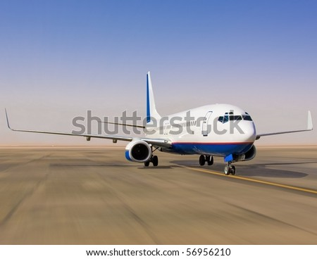 Plane on tarmac - stock photo