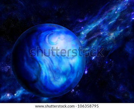 planet on the background of the Milky Way