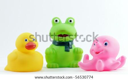 plastic bath toys - stock photo