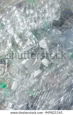plastic bottle in recyclable waste. - stock photo