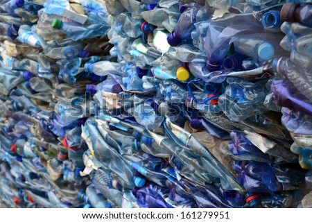 plastic bottles prepared for recycling - stock photo
